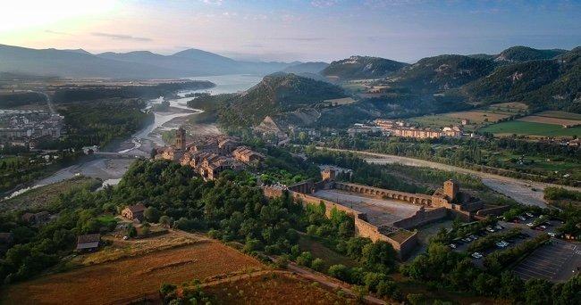 fotografía aérea de Huesca con drone